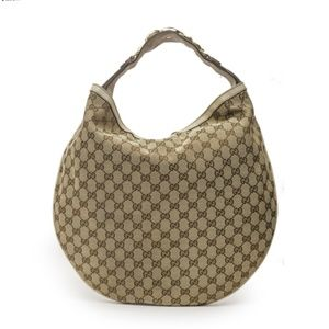 Gucci Horsebit Catena Beige Canvas & Leather Hobo
